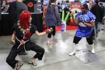 Many cosplayers had fun posing for photos like this Akuma and Chun-Li did.