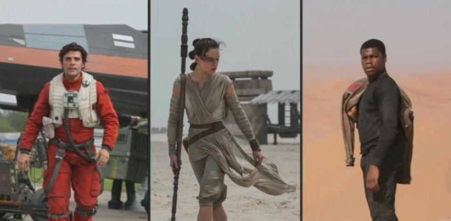 The three new heroes: Poe Dameron (Oscar Isaac), Rey (Daisy Ridley) and Finn (John Boyega)