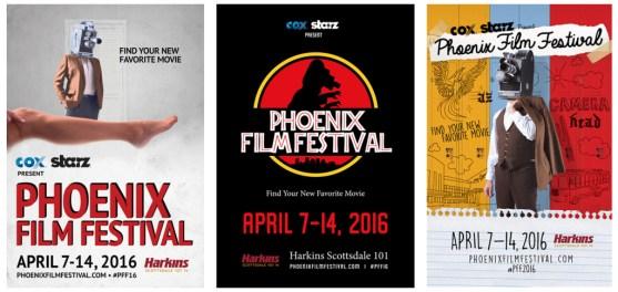 Phoenix Film Festival poster art by (L-R) Marty Freetage, Amy Bornstein, Lisa Marie Lara