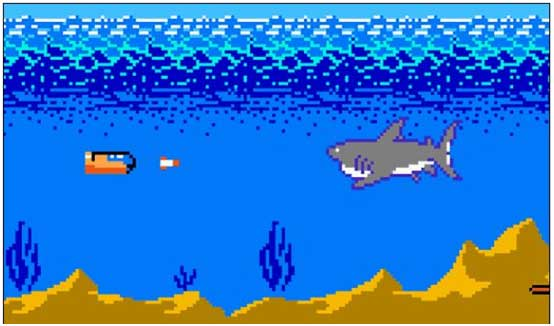 """Caption: Discovery wouldn't let us use footage of Jaws of the Deep, but this screencap of the classic NES game """"Jaws"""" is actually pretty close to what's going on."""