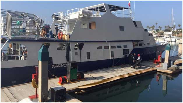 Caption: The MV Sea Escape, what I dubbed the Millennium Falcon of Dive Boats. It's not pretty, but it's got it where it counts.