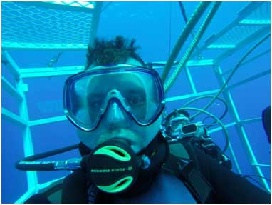 """To get this selfie at 40ft down off Isla Guadalupe, I required a passport, an application form, numerous e-mails, a medical waiver, insurance forms, a subscription to BuoyWeather.com, park passes, customs declarations, PADI certification, and a post-dive inspection by Mexico's Marines. You won't see that on """"Jaws of the Deep""""."""