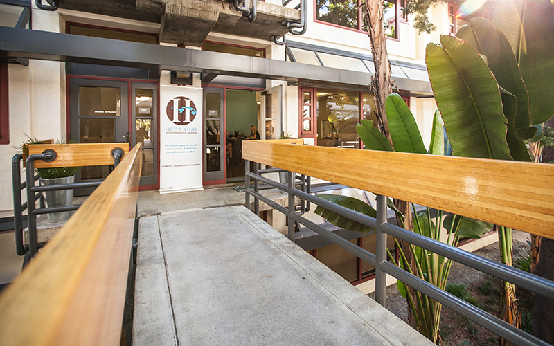 """Hera Hub says it provides a more """"beautiful"""" coworking atmosphere that includes aromatic candles, spa-like music and exercise balls. (Courtesy of Natalia Robert/Full Circle Images via Hera Hub)"""