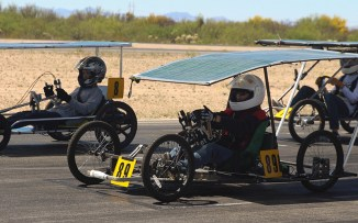 Students brought their solar-powered go-karts to a track in Tucson to do practce runs and safety checks to prepare for the race in late April. (Photo by Erica Apodaca/Cronkite News)