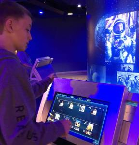 The interactive Astronauts Hall of Fame at the Kennedy Space Center's Heroes & Legends exhibit.