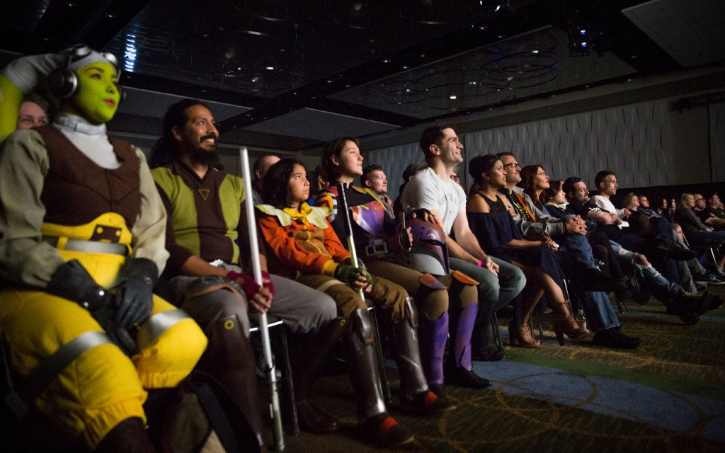 Star Wars Rebels coplayers join the cast to watch the Season 4 trailer at Star Wars Celebration Orlando.