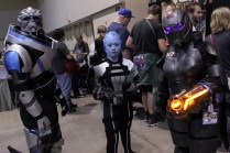 A group of Mass Effect cosplayers waited patiently to meet Mark Meer (voice of Male Commander Shepard).
