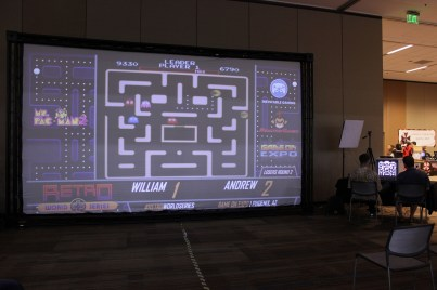A large projector screen was present for tournaments, as well as a livestream for the folks at home.