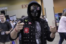 A Wrench cosplayer from the game Watchdogs 2.