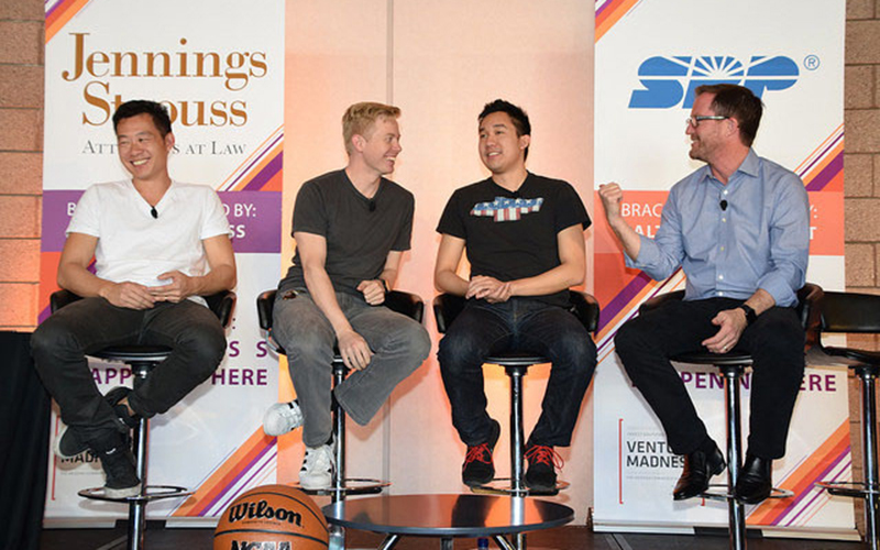Speakers Justin Kan, Steve Huffman, Daniel Kan and Greg Head (from left to right) address the crowd at Venture Madness 2017. (Photo courtesy of Invest Southwest)