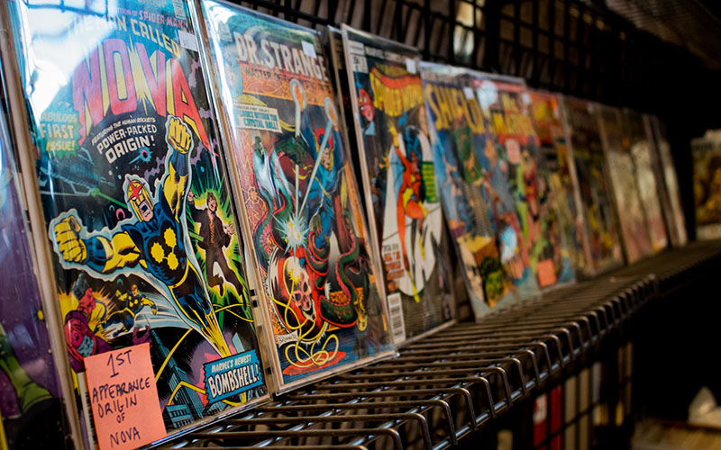 Action figures, film memorabilia and collector edition comics were all items avaiable for comic-lovers alike. (Photo by Melina Zuniga/Cronkite News)