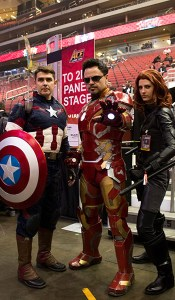 Andrew Gordon, Tony Contreras and Sarah Price took the day off being the heroes of Comicare, who visit children in hospitals and medical centers, to attend Ace Comic Con. (Photo by Melina Zuniga/Cronkite News)