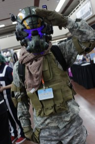 Prepare for Titanfall! This pilot cosplayer showed off their detailed helmet in the vendor hall.