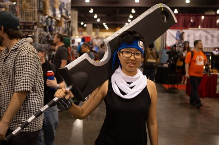 "Jiaqi Li, cosplaying as the character Zabuza from the anime ""Naruto,"" said she didn't have any problem getting her large foam sword through security. (Photo by Nick Serpa/Cronkite News)"