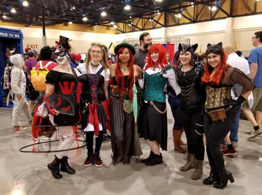 Ladies cosplaying together at Phoenix Comic Fest, Saturday, May 26, 2018, at the Phoenix Convention Center.
