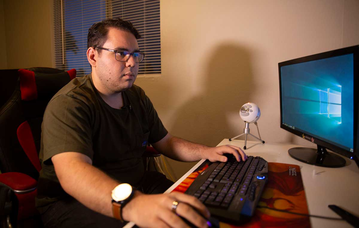 """Habib Matar, 21, used to play video games six hours a day; now he spends about six hours a week. """"I think mental health is a really big topic that really needs to be covered,"""" he said. """"But I don't think gaming is so much the issue for that."""" (Photo by Carino Haro/Cronkite News)"""