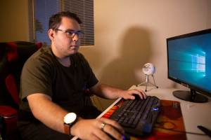 "Habib Matar, 21, used to play video games six hours a day; now he spends about six hours a week. ""I think mental health is a really big topic that really needs to be covered,"" he said. ""But I don't think gaming is so much the issue for that."" (Photo by Carino Haro/Cronkite News)"