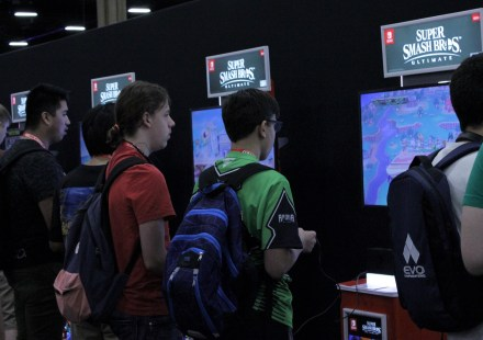 Super Smash Bros. Ultimate was being demonstrated on the tournament floor.