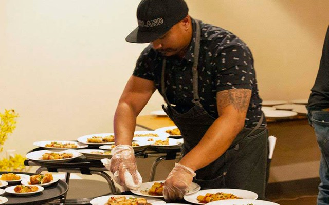 Chefs like Kevin Rosales of Good Fortune Kitchen were able to display their cuisine for guests at the So Good Food and Film Festival in November. (Photo by Vivian Meza/ Cronkite News)