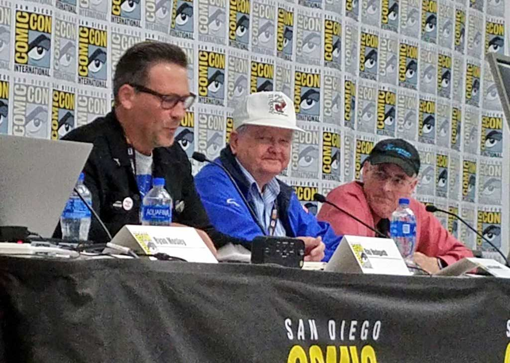 """They Came for the Moon: 50 Years of Apollo 11 from Those That Built It"" panel at San Diego Comic-Con 2019 - (L-R) Ray Hedgpeth (Columbia Space Center), Lovell Stoddard (Apollo 11 engineer), Mat Kaplan (Planetary Radio.)"