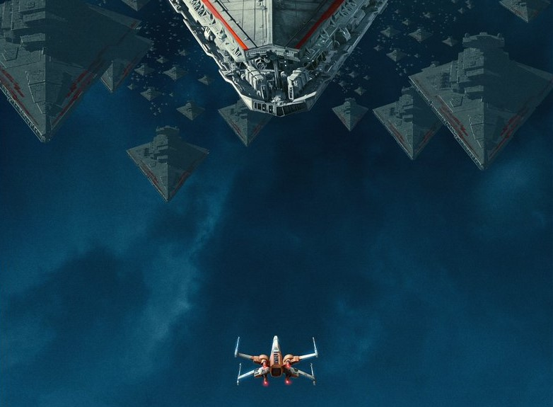 Dolby Cinema Exclusive Poster Shows Red Trimmed Star Destroyers Bearing Down On A Lone Resistance X Wing