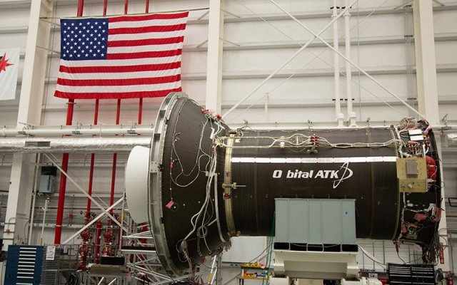 An unshielded Cygnus space craft being worked on in the hangar at NASA Wallops Flight Facility in Virginia. The nanosatellite built by Arizona State University students, along with six others, was launched Saturday on a similar Cygnus rocket. (Photo by Harrison Mantas/Cronkite News)