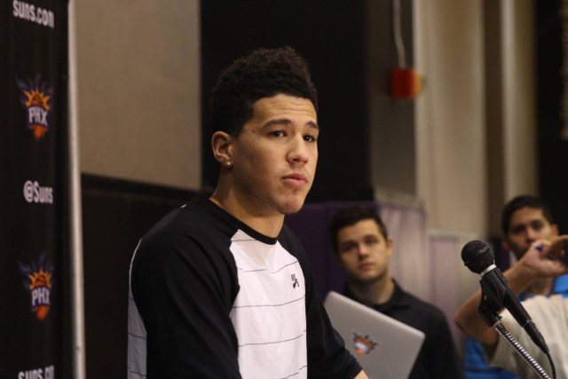 Suns guard Devin Booker is a fan of gaming and would love to see the Phoenix Suns add an NBA 2K League team. (Photo by Logan Newman/Cronkite News)