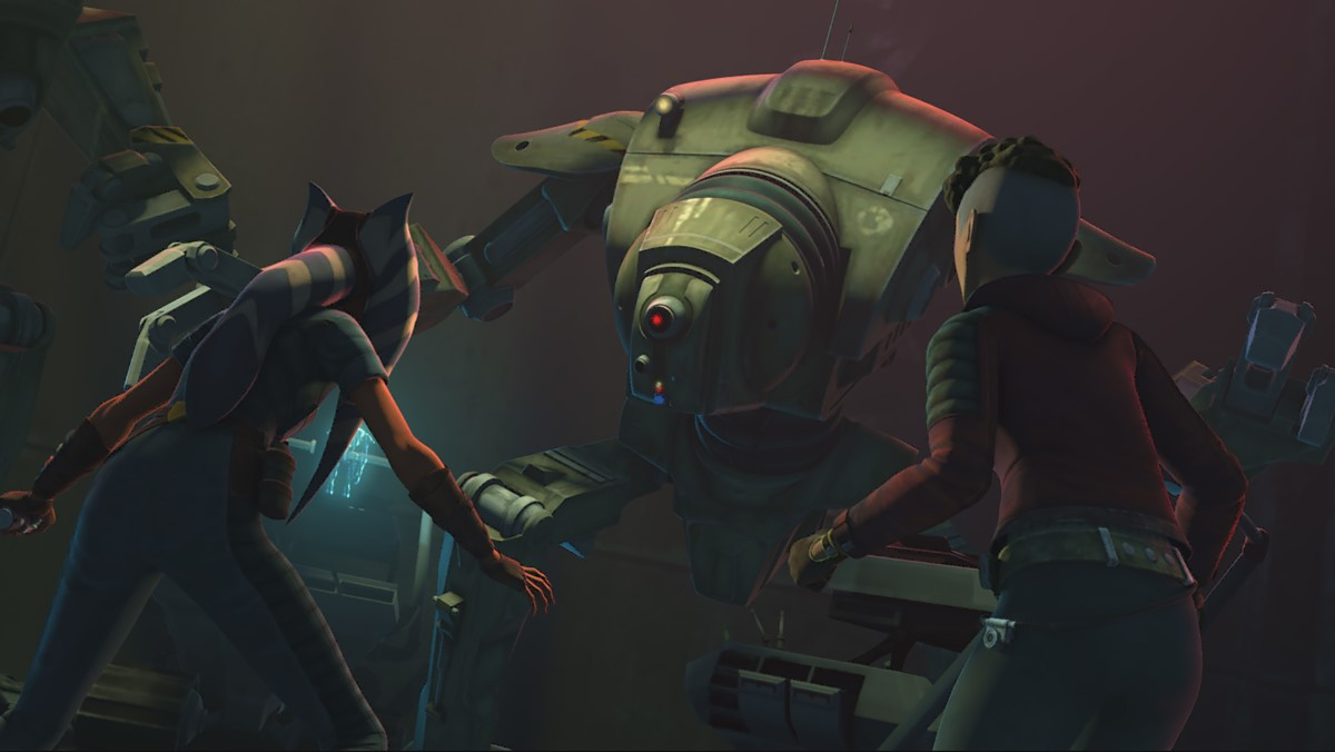 Ahsoka Tano and Trace Martez work together to disable a dangerous droid in STAR WARS: THE CLONE WARS, exclusively on Disney+.