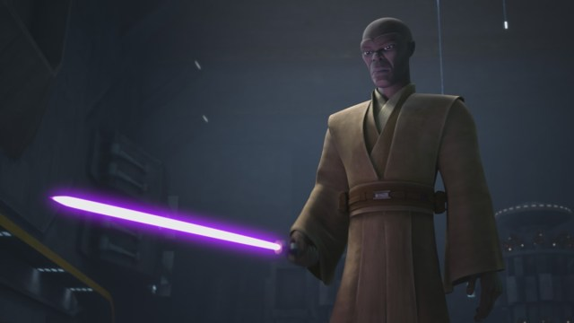 Jedi Mace Windu addresses the battle droids in STAR WARS: THE CLONE WARS, exclusively on Disney+.