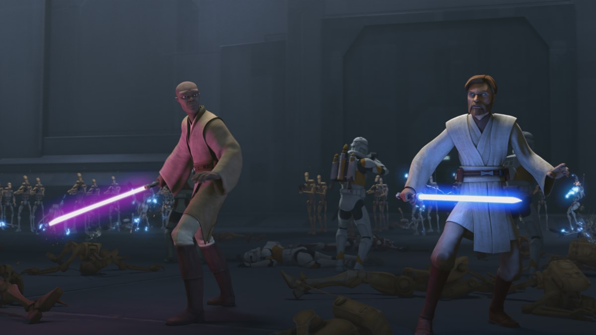 Jedi Mace Windu and Obi-Wan Kenobi lead an attack against Separatist forces in STAR WARS: THE CLONE WARS, exclusively on Disney+.