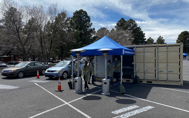 Coconino County officials have been providing drive-thru testing for the coronavirus to people who have a referral from their doctor to get a test. (Photo courtesy Coconino County Health and Human Services)