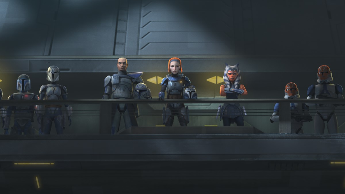 Rex, Bo-Katan, Ahsoka and their forces prepare to confront Maul in STAR WARS: THE CLONE WARS, exclusively on Disney+.