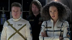 Neil Casey, Joel Hodgson and Bess Rous in Other Space.