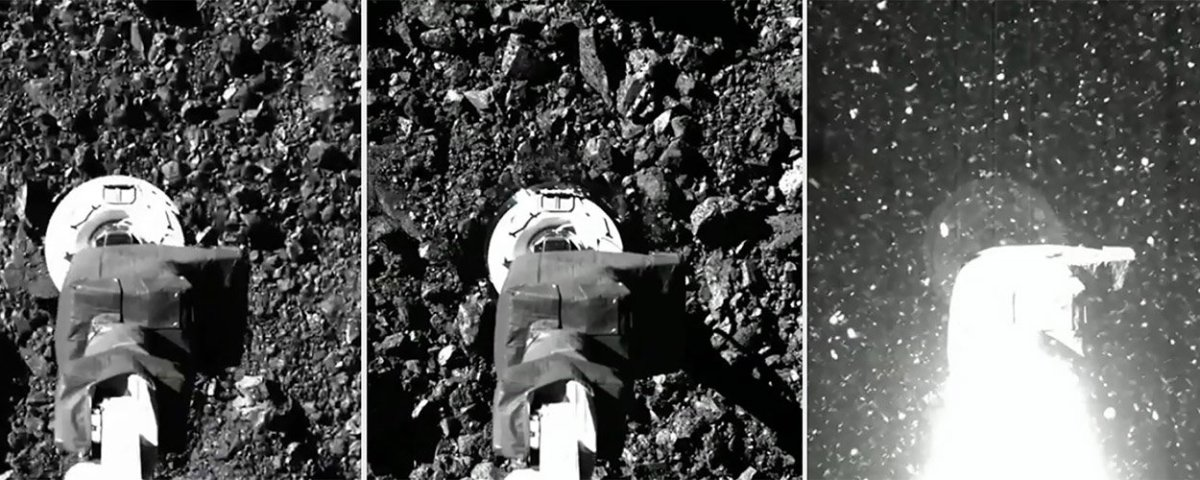 A series of images show the Touch-And-Go Sample Acquisition Mechanism, or TAGSAM, on the OSIRIS-REx spacecraft as the arm approaches the asteroid's surface, makes contact and then is engulfed by debris it kicked up and will collect for return to Earth. (Photo courtesy NASA)