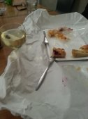 Enjoying the end of the day with white wine and cake