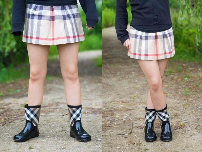 Gewichtsverlagerung Posing Beine Kreuzen Gummistiefel