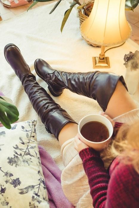 Lolita Schuhe in Untergrößen Overkneestiefel