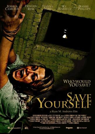 Movie poster a young woman with her hands bound screams in horror and/or pain