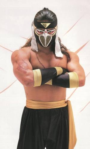 Japanese wrestler Hayabusa in crossed arms pose