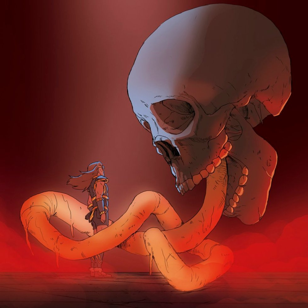A hand-painted illustration shows Simon Belmont from Castlevania IV looking up at a huge skull as a snake comes from its mouth and starts to envelope our hero