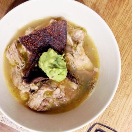 gluten free green chili pork tortilla soup