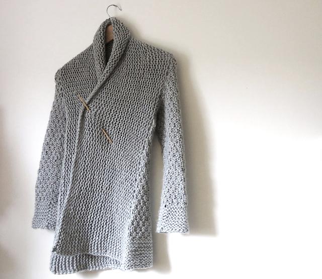 oversized cardigan knitting pattern finished sweater photo