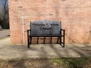 Outside at the George E. Allen Library in Booneville, MS.