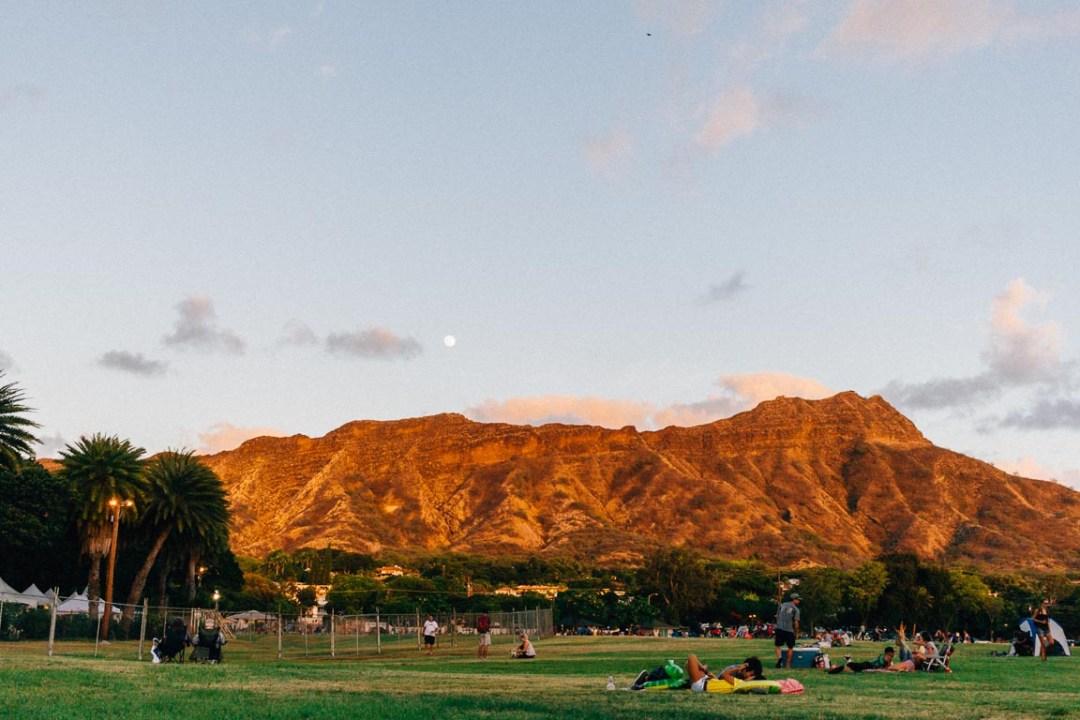 Moon over Diamondhead mountains in Hawaii