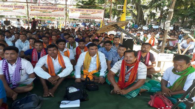 बोड़ोलैंड राज्य के समर्थन में किसानों का धरना