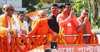 त्रिपुरा चुनाव: सीएम योगी आदित्यनाथ का रोड शो, जन सभा