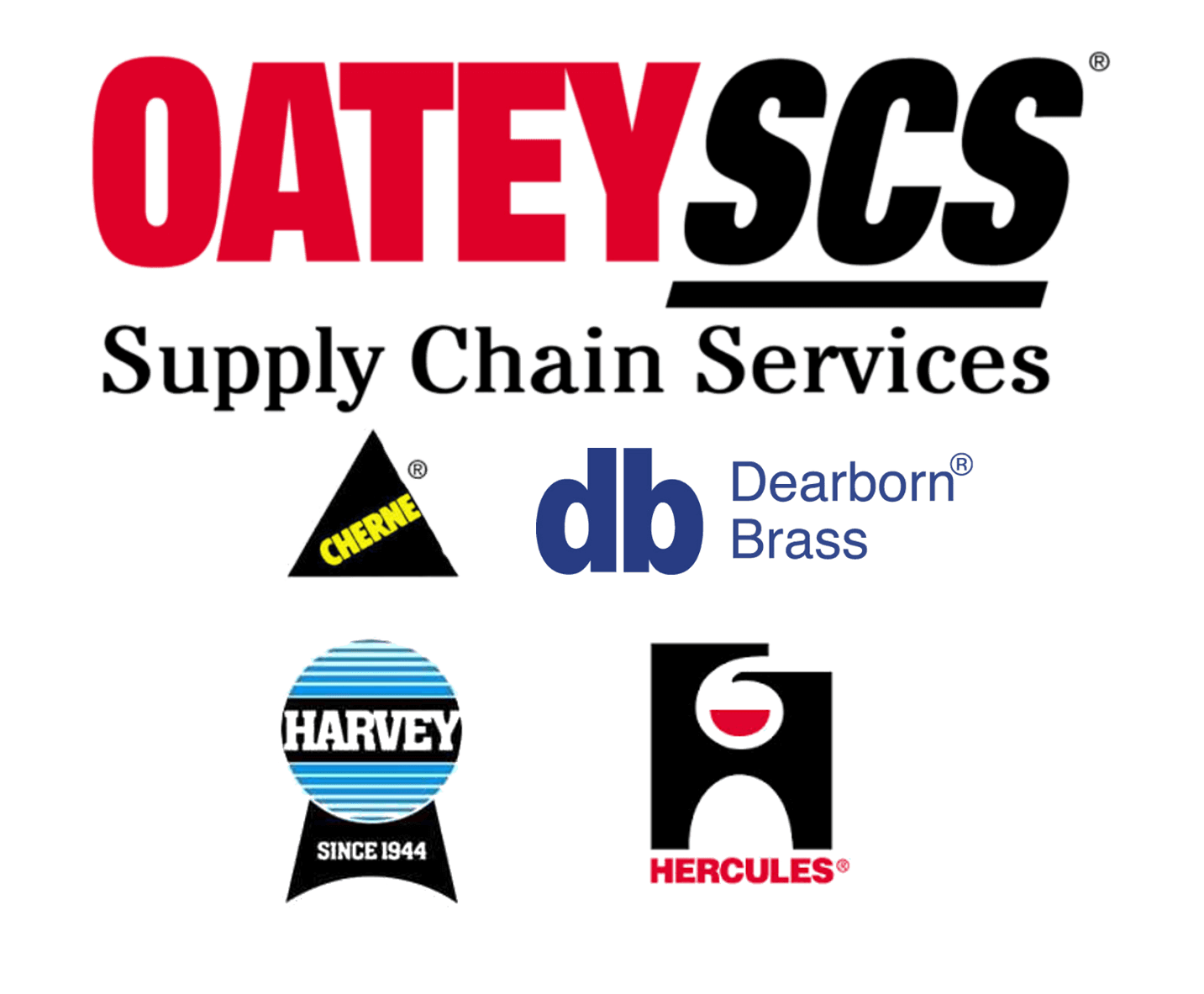 OateySCS with Cherne, Harvey, Dearborn Brass, and Hercules logos