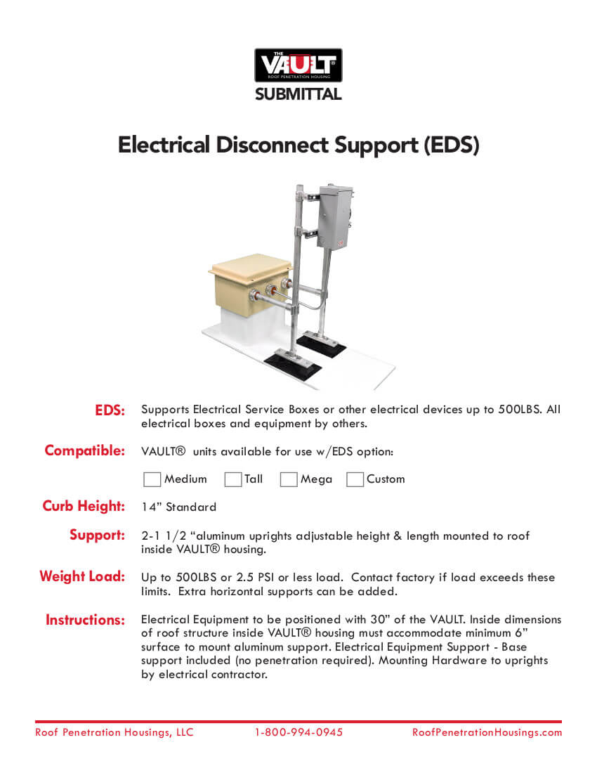The Vault Electrical Disconnect Support Submittal