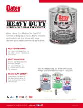Oatey Gray PVC Cement Sell Sheet Front