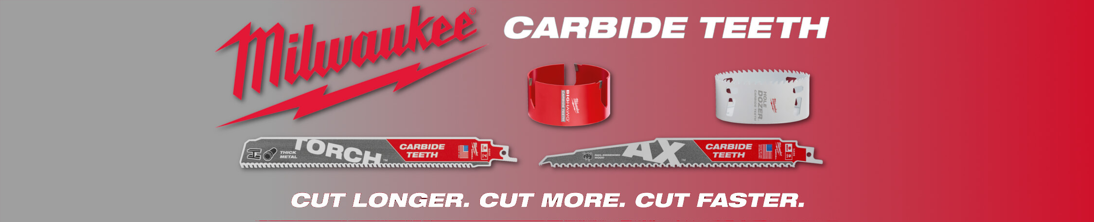 Homepage banner showing off Milwaukee's New Carbide Products